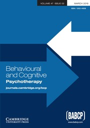 Behavioural and Cognitive Psychotherapy Front cover